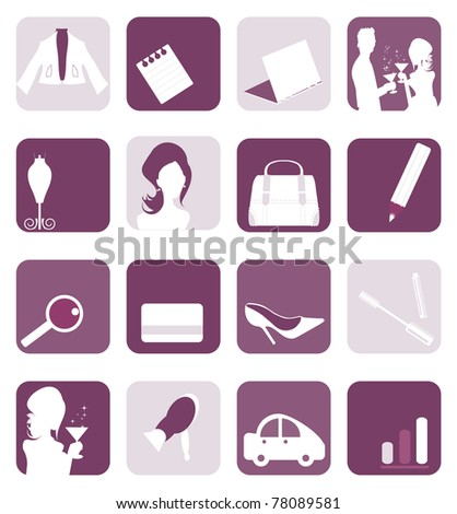 8d9caabb4db9c Royalty-free stock vector images ID: 78089581. Business woman icons set and  accessories collection - Vector