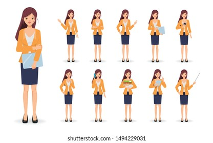 Business woman in job and lifestyle daily routine character set. Business people in occupation and job details.