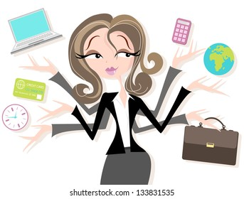 Business woman juggling tasks Pretty woman in smart suit juggling business, time, money, business, global, accounts.