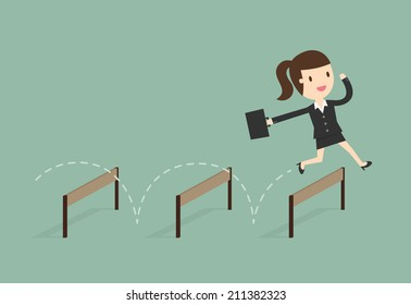 Business woman Jumping Over Hurdle