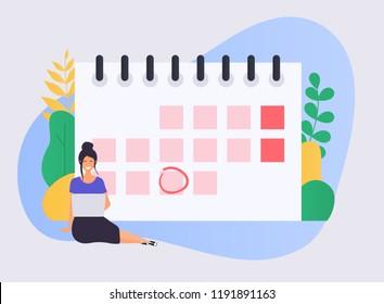 Business woman with a laptop have a calendar plan. Flat design modern vector illustration concept.
