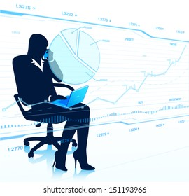 Business woman with laptop looking at touch screen. (EPS10 vector)