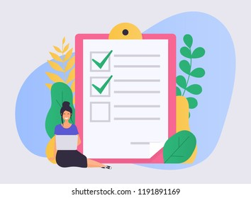 Business woman with a laptop marked checklist on a clipboard paper. Flat design modern vector illustration concept.