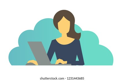 Business woman with laptop in office. Woman at work.