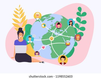 Business woman with a laptop. Social network and teamwork concept for web info graphic. Set of people avatars and icons. Communication Systems and Technologies.