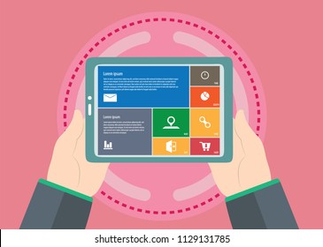 Business woman laptop using ,Social, media, flat vector illustration on technical service