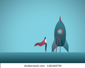 Business woman leader with startup symbol vector concept. Innovative female entrepreneur, symbol of success, power, leadership. Eps10 vector illustration.