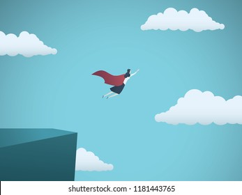 Business woman leader superhero vector concept. Businesswoman flying off a cliff as a hero with cape. Symbol of feminism, female power, emancipation, strength, power, empowerment. Eps10 vector