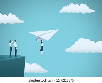 Business woman leader vector concept. Businesswoman flying with paper plane off a cliff. Symbol of strength, creativity, courage, leadership. Eps10 vector illustration.