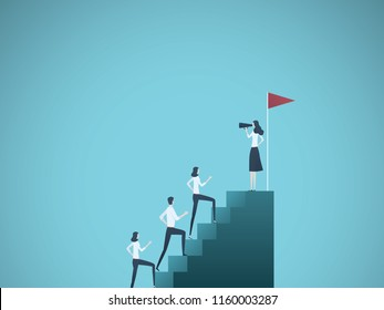 Business woman leader vector concept. Businesswoman speaking to team climbing stairs with megaphone. Symbol of motivation, ambition, leadership. Eps10 vector illustration.