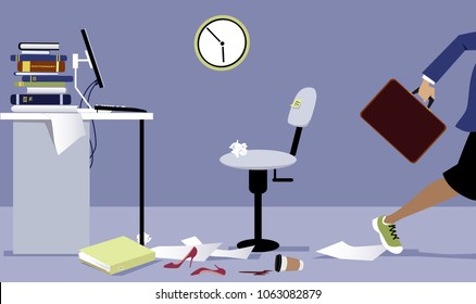 Business woman leaving her office early, EPS 8 vector illustration