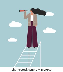 Business woman looking in binoculars standing on a ladder high in the clouds. Concept of search, vision, forecasting, future. Flat vector illustration. Female boss with strategic thinking