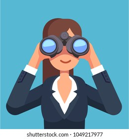 Business woman looking through binoculars searching for a job. Flat style isolated vector illustration