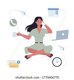 Business woman in lotus pose set. Employee meditate against stress. Deadline concept. Idea of many work and few time. Flat vector illustration
