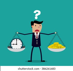business woman making decision between time or money, time is money concept.  Balancing Time and Money. vector illustration