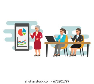 Business woman making presentation explaining charts on a white board. Business seminar. Flat style vector illustration isolated on white background. Recruitment, Business interview concept.
