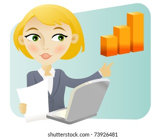 Business woman making a presentation at the office with visual aid
