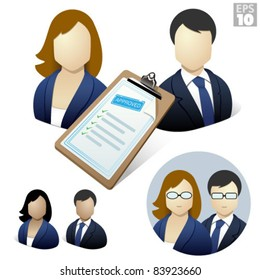 Business woman and man with approved resume on a clipboard, job application