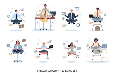Business woman and man in lotus pose set. Employee meditate against stress. Deadline concept. Idea of many work and few time. Flat vector illustration