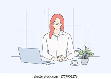 Business, woman manager in office concept. Young happy smiling businesswoman clerk cartoon character sitting at work table with coffee and laptop. Company leader boss looking at camera illustration.