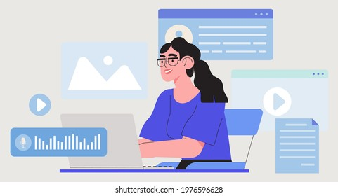 Business woman, manager or seo specialist work on project, website or social media promotion, advertisement. Freelance work on laptop editing video material, presentation, creating or writing content.