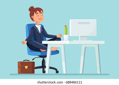 Business woman meditating in lotus pose on office chair. Girl doing yoga and get calm. Relax, meditation concept. Vector illustration. Flat style design