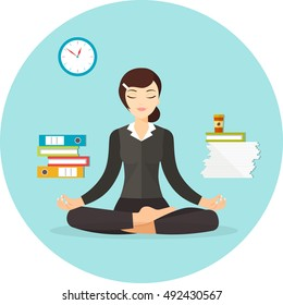 Business woman meditating. Work at office.  Woman in yoga pose, lotus position. Vector flat illustration isolated
