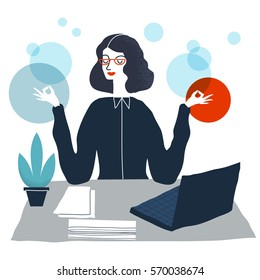 Business woman meditating. Woman in yoga pose. Employee meditating and relaxing in office.  Vector modern creative illustration.