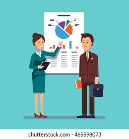 Business woman and mentor giving a presentation speech showing marketing and sales data to a man. Modern flat style concept vector illustration isolated on white background.