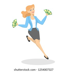 Business woman with money. Happy successfull woman jumping with money banknotes. Financial well-being. Isolated vector illustration in cartoon style