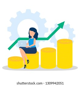 Business woman with money. Happy successfull woman sitting on the pile of money coin and working on laptop computer. Financial well-being. Isolated vector illustration in cartoon style