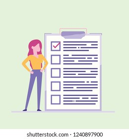 business woman nearby marked checklist on a clipboard paper. Successful completion of business tasks. Flat vector illustration
