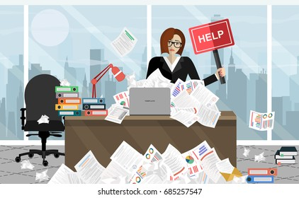 Business woman needs help under a lot of documents  in office at the desk and holding a HELP placard.