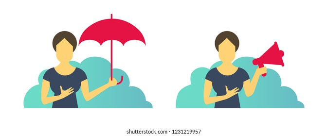 Business woman office set of situations. With umbrella protection and with loudspeaker. Advertising and laptop.