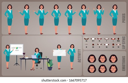 Business woman or office worker character Set. Collection of character body Poses, facial gestures, Business activities and Lip syncs poses. Ready-to-use and animate, character set. Vector.