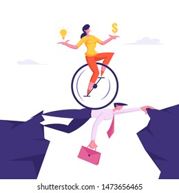 Business Woman on Monowheel with Dollar and Light Bulb in Hands Riding over Head of Businessman Colleague. Creative Idea, Challenge, New Opportunity Success Concept Cartoon Flat Vector Illustration