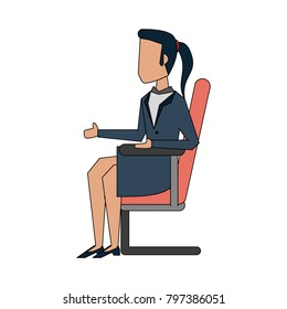 Business woman on office chair