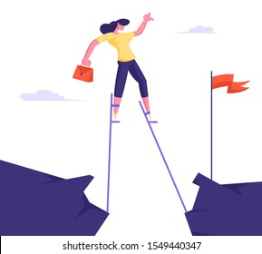 Business Woman Overcome Abyss Going by Stilts Trying to Reach Red Flag on other Side of Cliff. Girl Manager Businesswoman Challenge Social Climber Careerist Reach Goal. Flat Vector Illustration