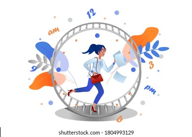 Business woman with paper and bag running in a hamster wheel as rat race. Concept of busy business people.