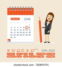 Business woman with pen and calendar. Business Operations Planning and Scheduling Concept.