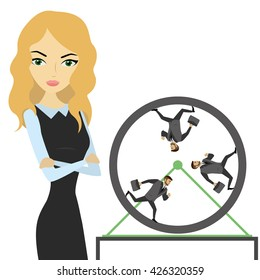 Business woman and business people running in a wheel, vector illustration