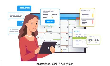 Terminplanungstermin für Geschäftsfrau in Kalenderanwendung. Person, die Nachrichten sendet, überprüft, Ereignisse hinzufügt, Erinnerungen an Tagungen in der Tablettenplanung App Flat Vektorgrafik