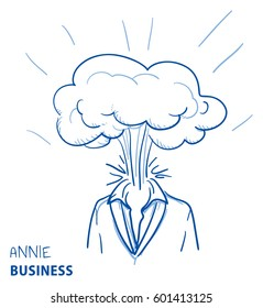Business woman portrait with exploding head, concept for stress, burnout, headache, too much work, hand drawn doodle vector illustration
