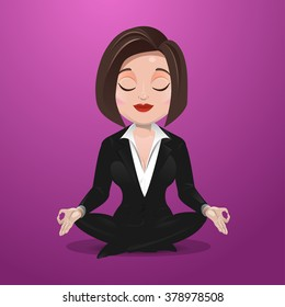 Business woman practicing meditation.