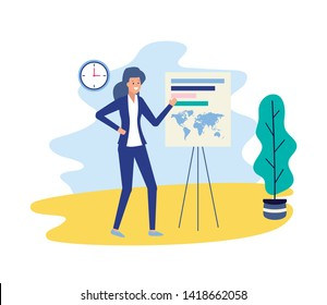 business woman presentation board strategy business work vector illustration