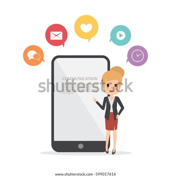 business woman presentation a mobile phone. communication infographic flat design.