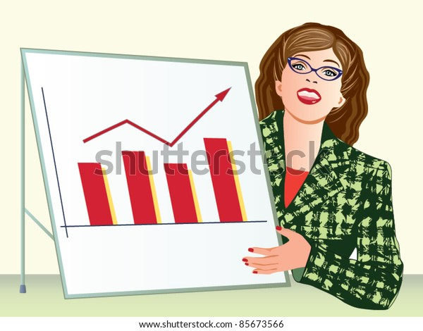 Business woman presenting graph vector
