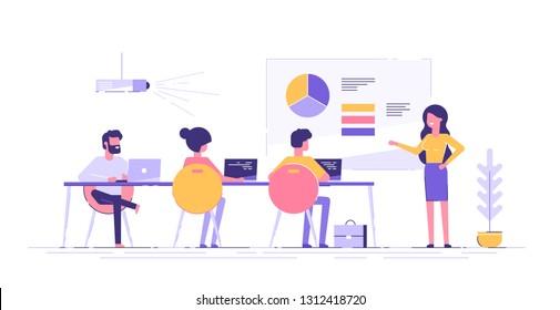パートナーや同僚に新しいプロジェクトを紹介するビジネスマン。彼女はグラフや円グラフを見せている。会議室で顧客にプレゼンテーションをするコーチ。現代のベクターイラスト。