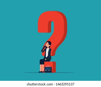 Business woman puzzled and contemplating. Vector illustration uncertainty concept, Thinking, Questions, Flat cartoon character design.
