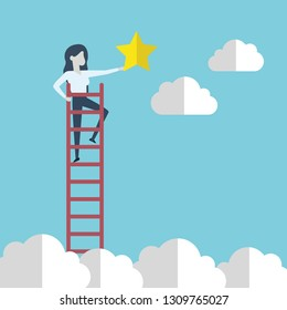 Business woman reaching to the star, metaphor to reaching to goal or be successful. Vector illustration.